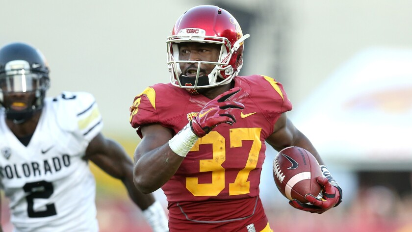 USC running back Javorius Allen scores on a 39-yard touchdown run during a win over Colorado on Oct. 18.