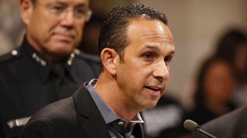Los Angeles City Councilman Mitchell Englander speaks during a council meeting at City Hall in April.
