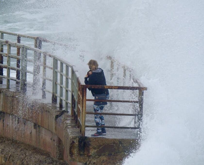 Wind-whipped waves slammed Children's Pool in La Jolla on Sunday.