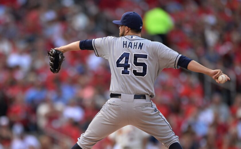Padres starting pitcher Jesse Hahn (45) throws against the St. Louis Cardinals in the first inning of a baseball game, Saturday, Aug. 16, 2014, at Busch Stadium in St. Louis.