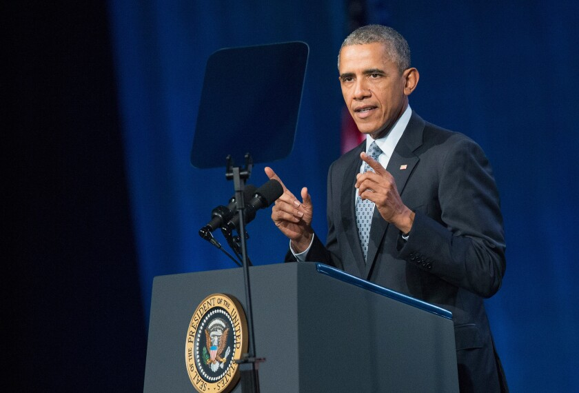 President Obama addresses the International Assn. of Chiefs of Police conference in Chicago on Oct. 27. The event is the largest gathering of law enforcement leaders in the world.