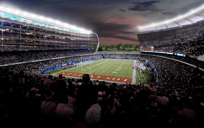 FILE - This undated artist rendering provided by MANICA Architecture shows an artist's rendering of a newly proposed NFL stadium in the city of Carson, Calif. The Los Angeles suburb of Carson could approve a $1.7 billion NFL stadium Tuesday, April 21, 2015, in the wake of a similar vote in nearby Inglewood, even though many details haven't been worked out and funding is uncertain. (MANICA Architecture via AP, File) NO SALES