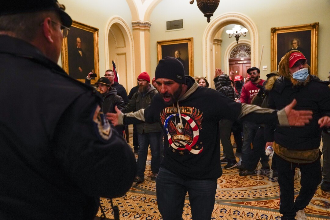 Protesters gesture to U.S. Capitol Police in the hallway outside of the Senate chamber at the Capitol in Washington DC.