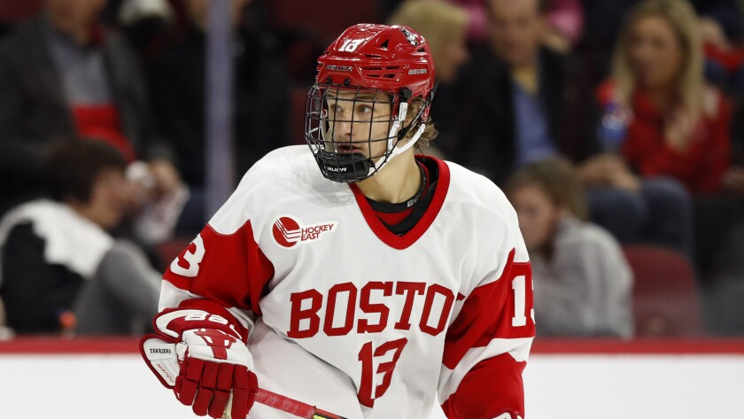 Boston University's Trevor Zegras during an NCAA hockey game against Northern Michigan.