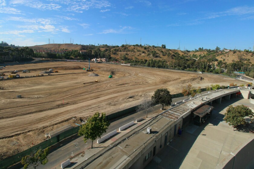 View looking north from the Stadium Cam positioned to follow construction of new stadium in SDSU Mission Valley project.