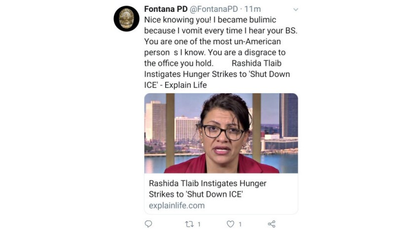 Screenshot of a tweet posted Tuesday April 23 to the Fontana Police Department\'s Twitter account ca