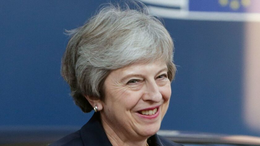British Prime Minister Theresa May arrives at the European Council headquarters in Brussels on Wednesday.
