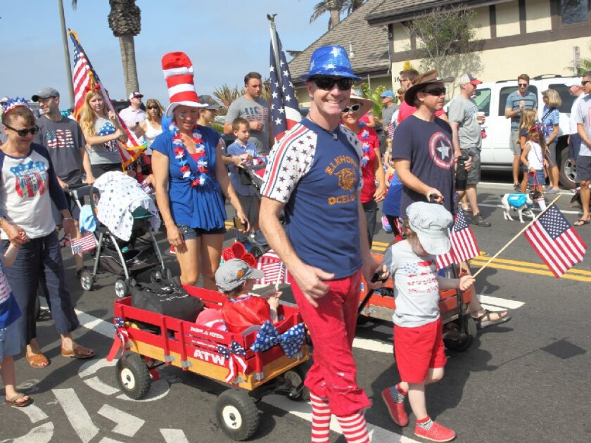 Participants at the 2018 Fourth of July Parade in Del Mar.