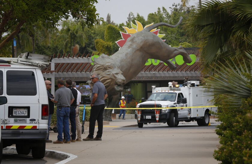 San Diego Zoo officials evacuated staff from the zoo and closed the facility after a gas leak was discovered near the front entrance. Workers have been sent home for the day and the animals are safe and secure.