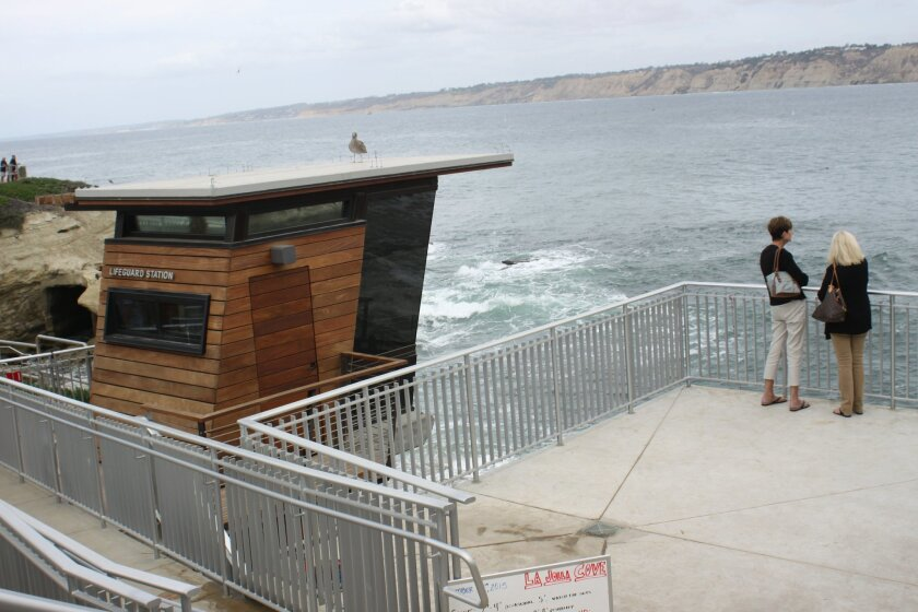 In addition to the new observation tower for lifeguards, a new observation deck for beach-goers is in place at La Jolla Cove.