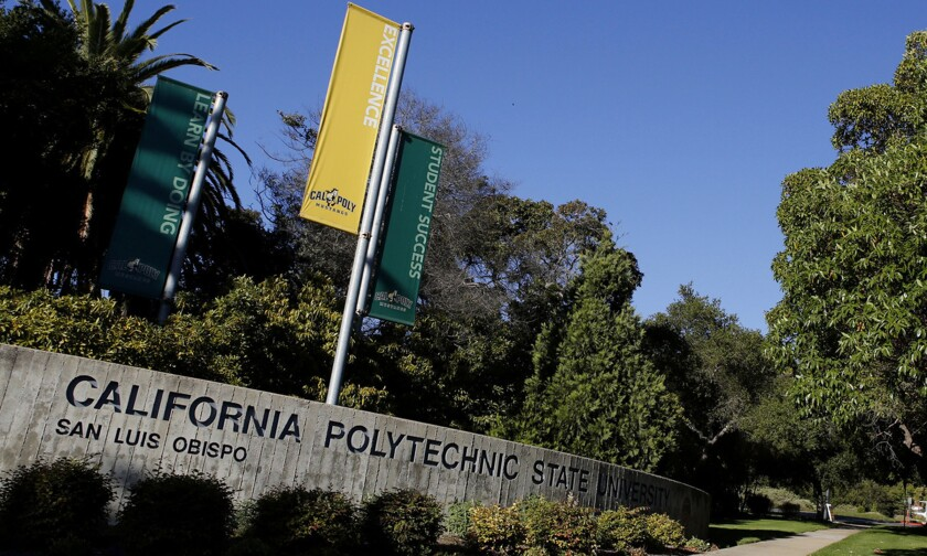A Cal Poly San Luis Obispo sign on campus.