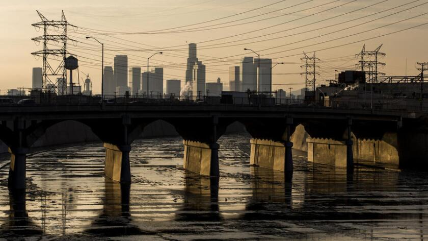 The Los Angeles River as it runs near the city of Vernon.