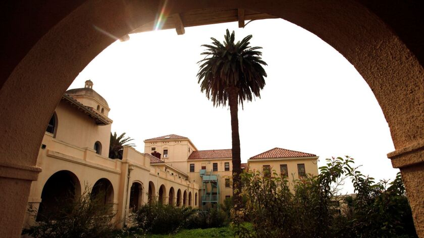 Buildings are framed by an archway on the West Los Angeles Veterans Affairs campus on January 28, 2015.