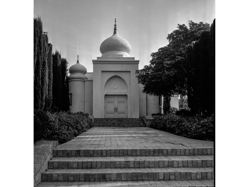 December 1955: The Vedanta Society of Southern California's Hollywood Temple at 1926 Vedanta Place.
