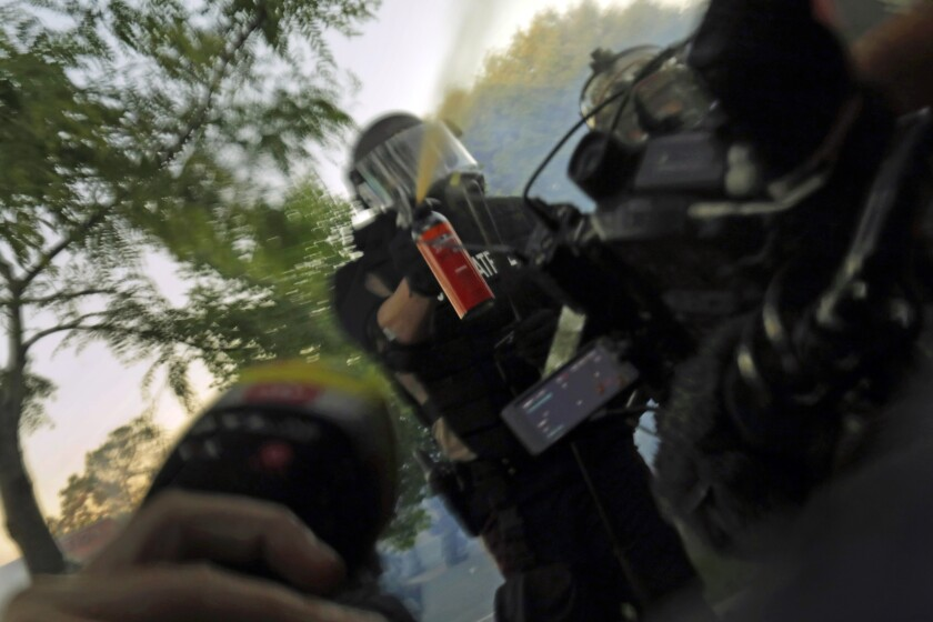 Police in Minneapolis attacking journalists covering protests over the in-custody death of George Floyd.