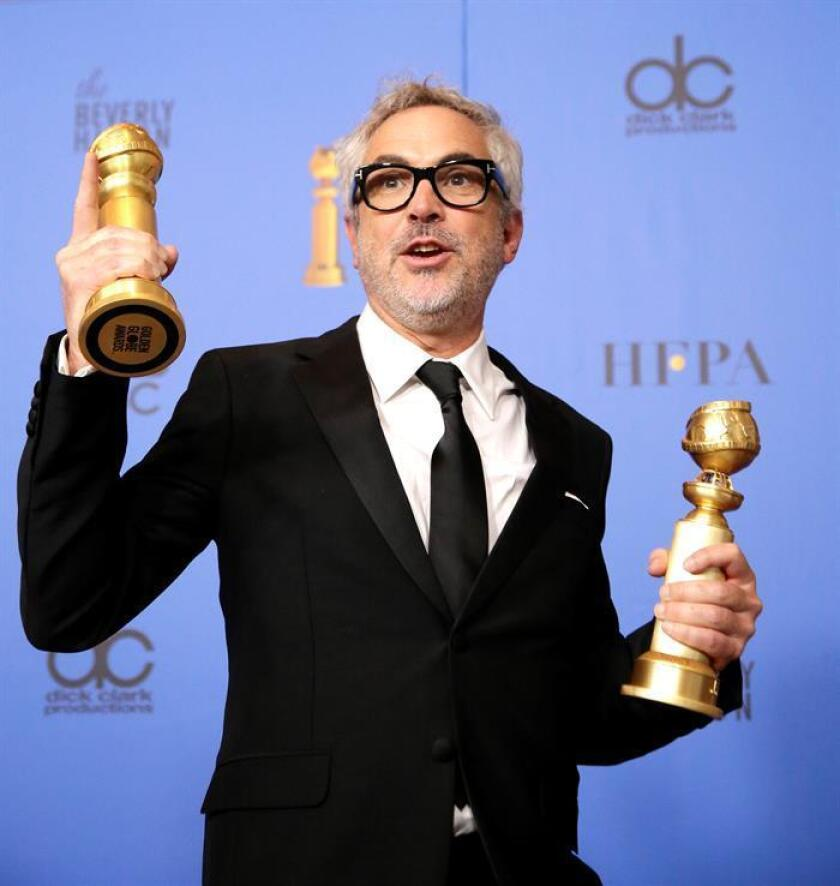 Alfonso Cuaron holds the awards for Best Director - Motion Picture and Best Motion Picture - Foreign Language for 'Roma' in the press room during the 76th annual Golden Globe Awards ceremony at the Beverly Hilton Hotel, in Beverly Hills, California, USA. EFE/EPA