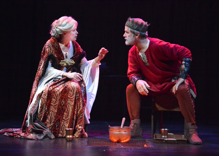 "Frances Fisher and Gregory Harrison in ""The Lion in Winter"" at Laguna Playhouse."