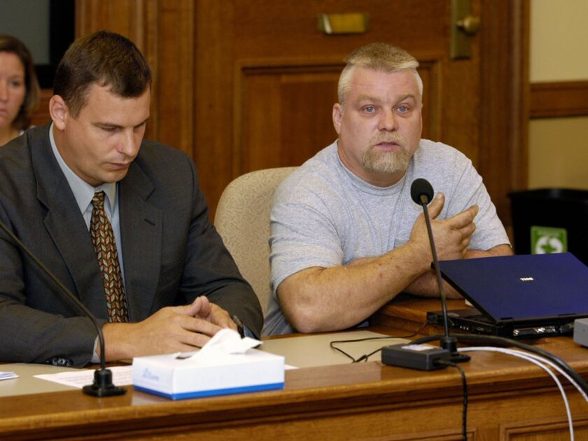 """This image released by Netflix shows Steven Avery, right, in the Netflix original documentary series """"Making a Murderer."""""""