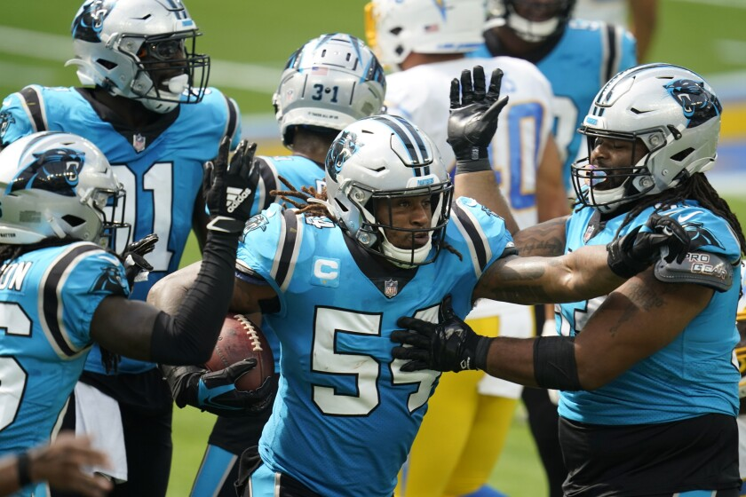 Carolina Panthers outside linebacker Shaq Thompson (54) celebrates after recovering a fumble against the Los Angeles Chargers during the first half of an NFL football game Sunday, Sept. 27, 2020, in Inglewood, Calif. (AP Photo/Alex Gallardo)