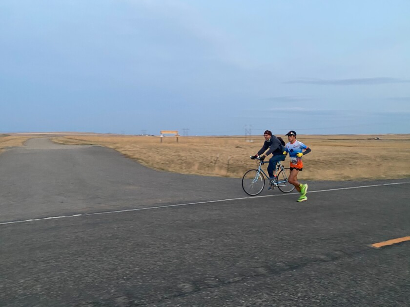 Patrick Hutton completed the Montana Marathon in record time.