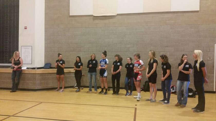 Denise Mueller, Chloe Dygert, Kristin Armstrong, Mari Holden and other top women cyclists speak to kids at Cajon Valley Middle School about fitness, goal setting and happiness.