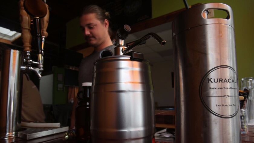 Ilija Cupurdija, one of the founders of Kuracali in San Marcos, a sake winery/beer brewery in an industrial park.