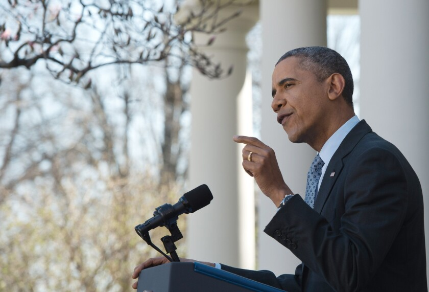 President Obama speaks about the Affordable Care Act in the White House Rose Garden this year.