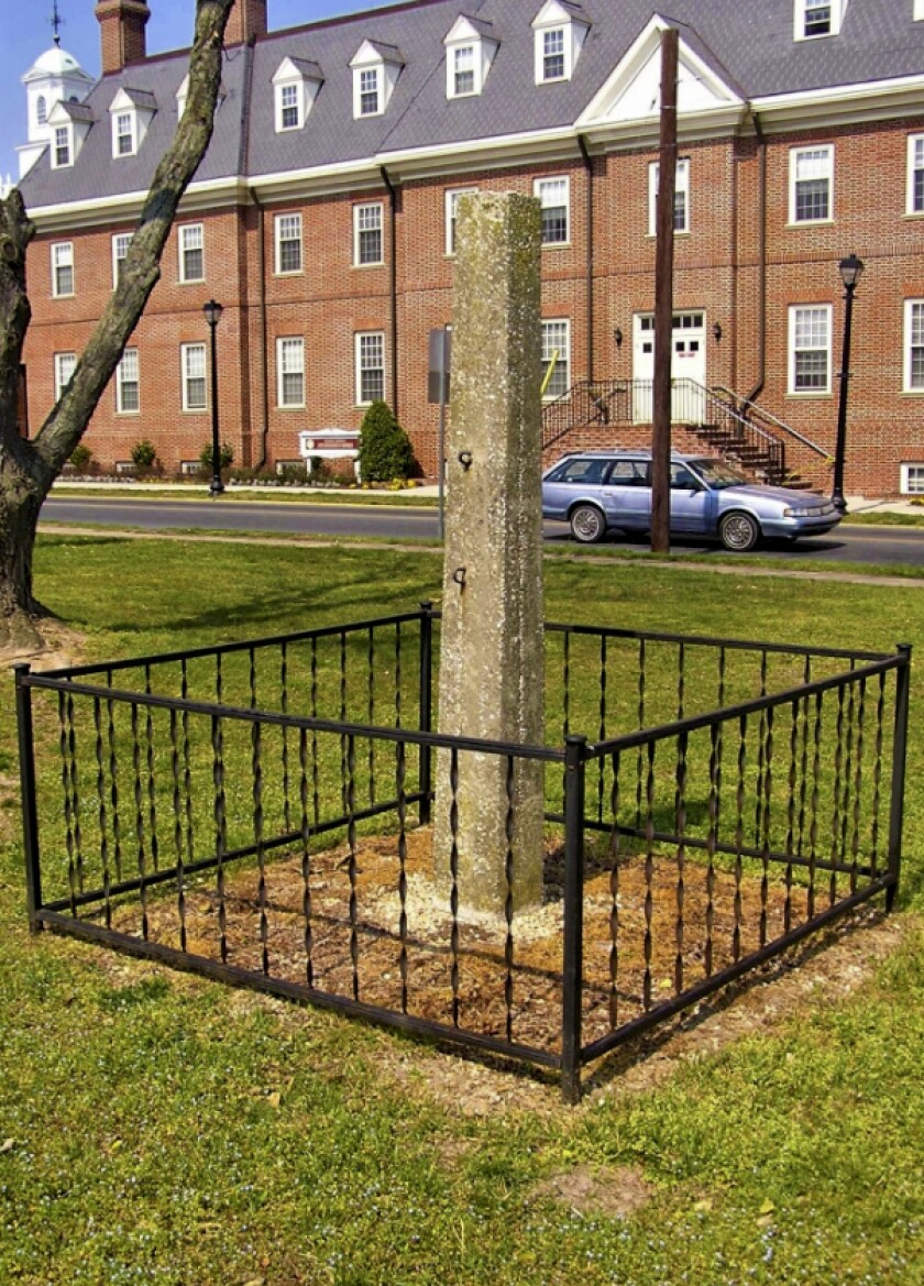 A whipping post on the grounds of the Old Sussex County Courthouse in Georgetown, Del.