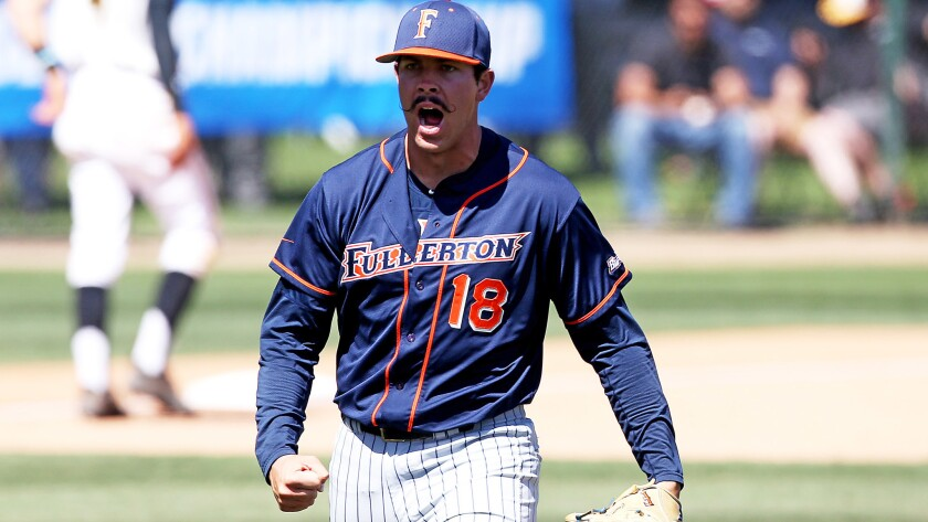 Fullerton State reliever Brett Conine reacts after retiring Long Beach State in the eighth inning Su