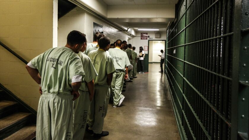 Inmates line up at the Men's Central Jail.