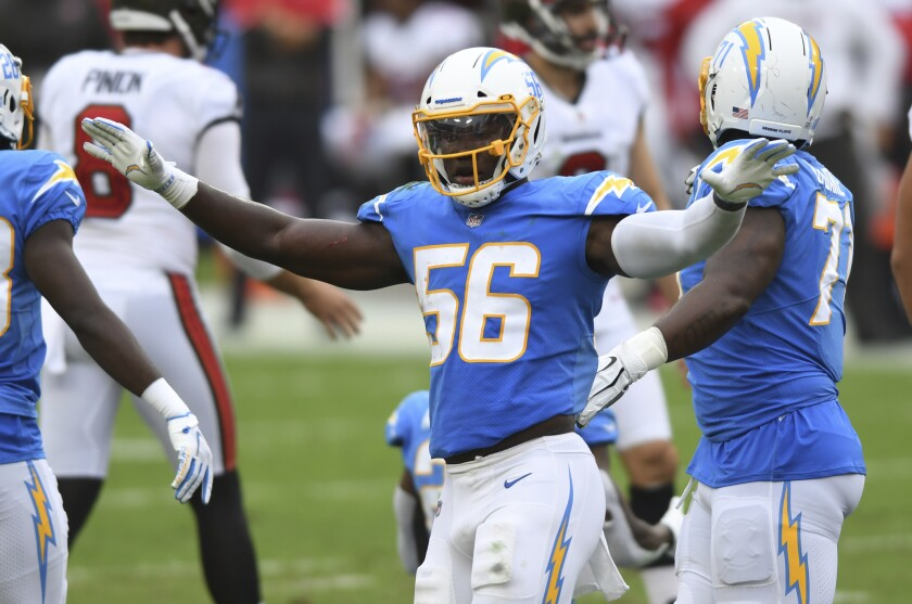 Chargers linebacker Kenneth Murray celebrates after a play against the Tampa Bay Buccaneers in October.