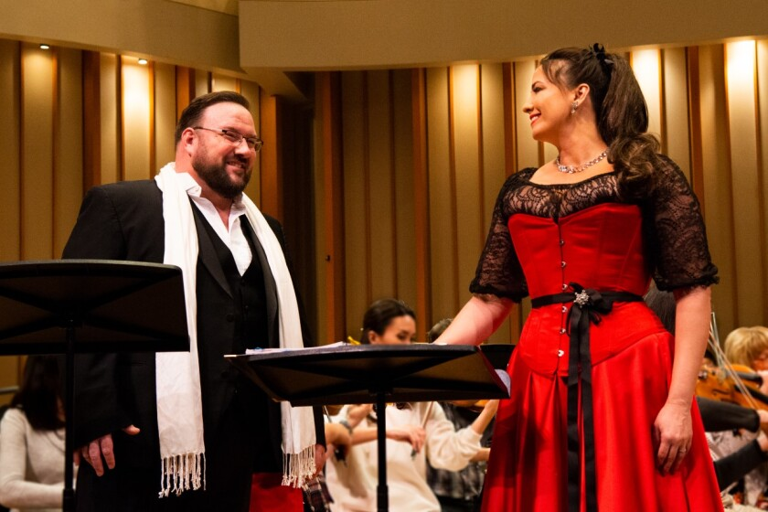 "Scott Ramsay and Shana Blake Hill in Numi Opera's production of Korngold's ""Der Ring des Polykrates."""
