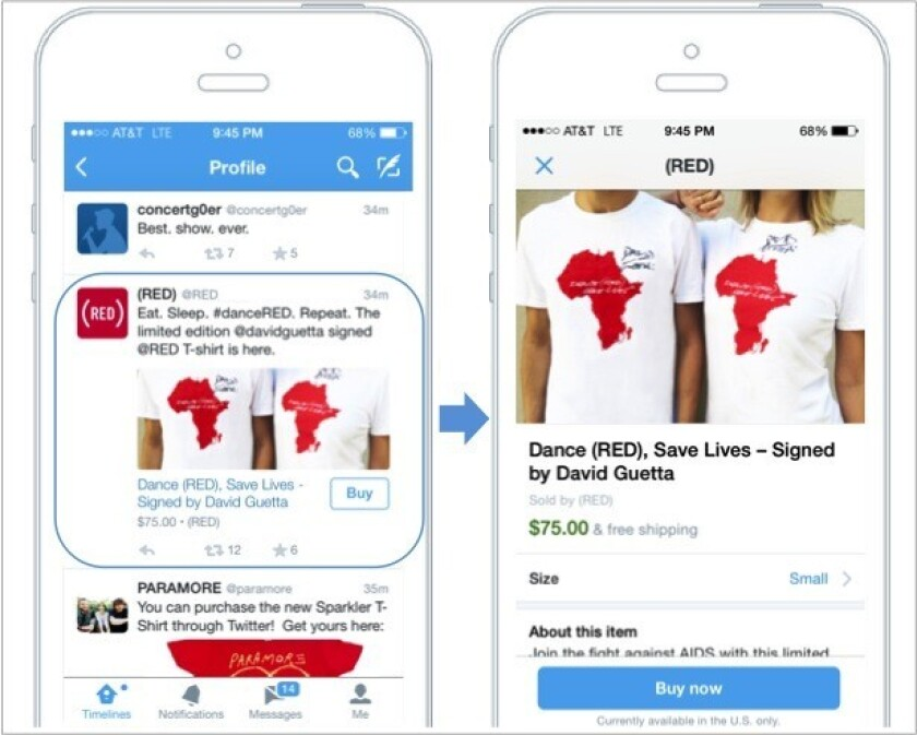 """Screenshots of Twitter's mobile app show the new """"buy"""" button."""