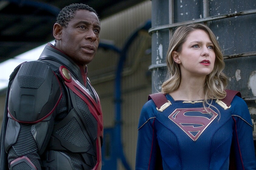 "David Harewood and Melissa Benoist in ""Supergirl."""