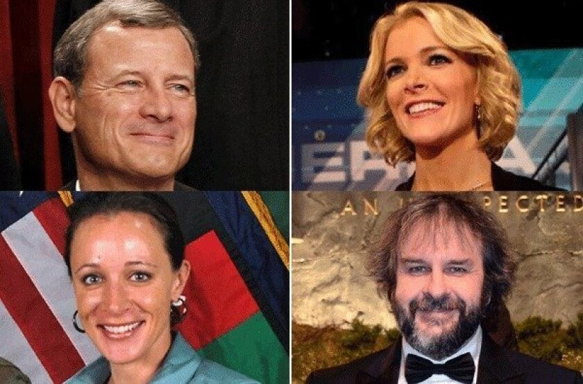 "The Times editorial board puts Chief Justice John G. Roberts Jr., top left, and Fox anchor Anchor Megyn Kelly, top right, on its ""nice"" list. On the ""naughty"" list, among others: David H. Petraeus' biographer Paula Broadwell, bottom left, and ""Hobbit"" director Peter Jackson, bottom right."