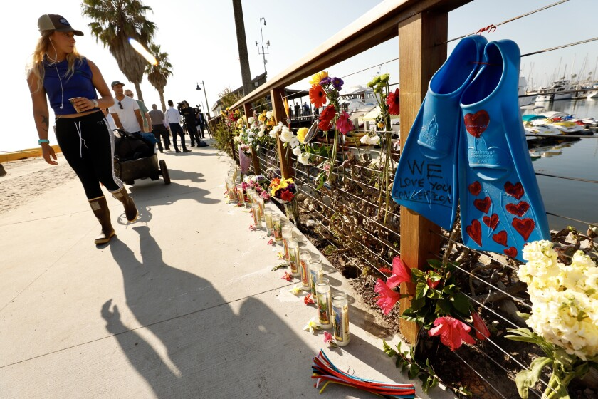 A memorial is set up at Santa Barbara Harbor, where the dive boat Conception was based before it burned and sank off the coast of the Channel Islands on Monday.