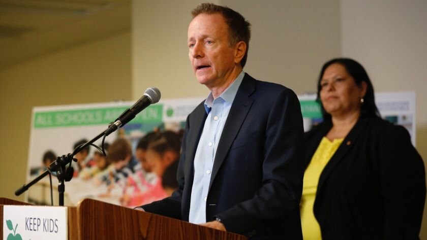 L.A. Unified Supt. Austin Beutner provides an update on the teachers' strike at district headquarters Monday.