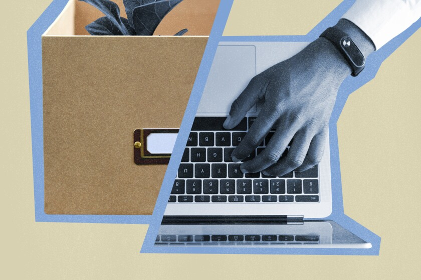Photo illustration of a cardboard box to the left and, to the right, a hand typing on a laptop