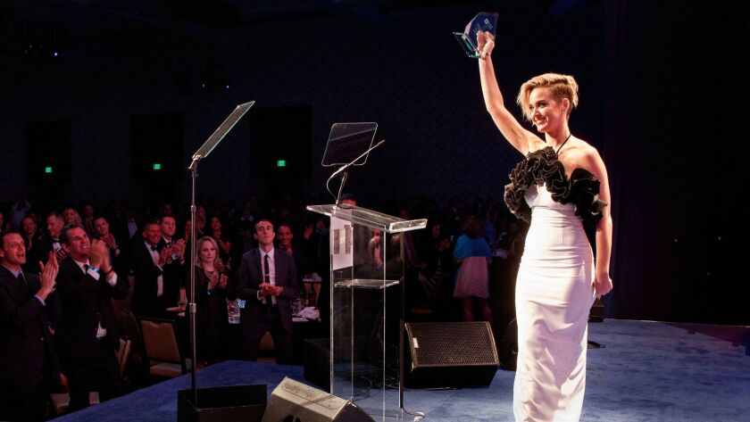 Honoree Katy Perry accepts the HRC National Equality Award onstage at the Human Rights Campaign 2017 Los Angeles Gala.