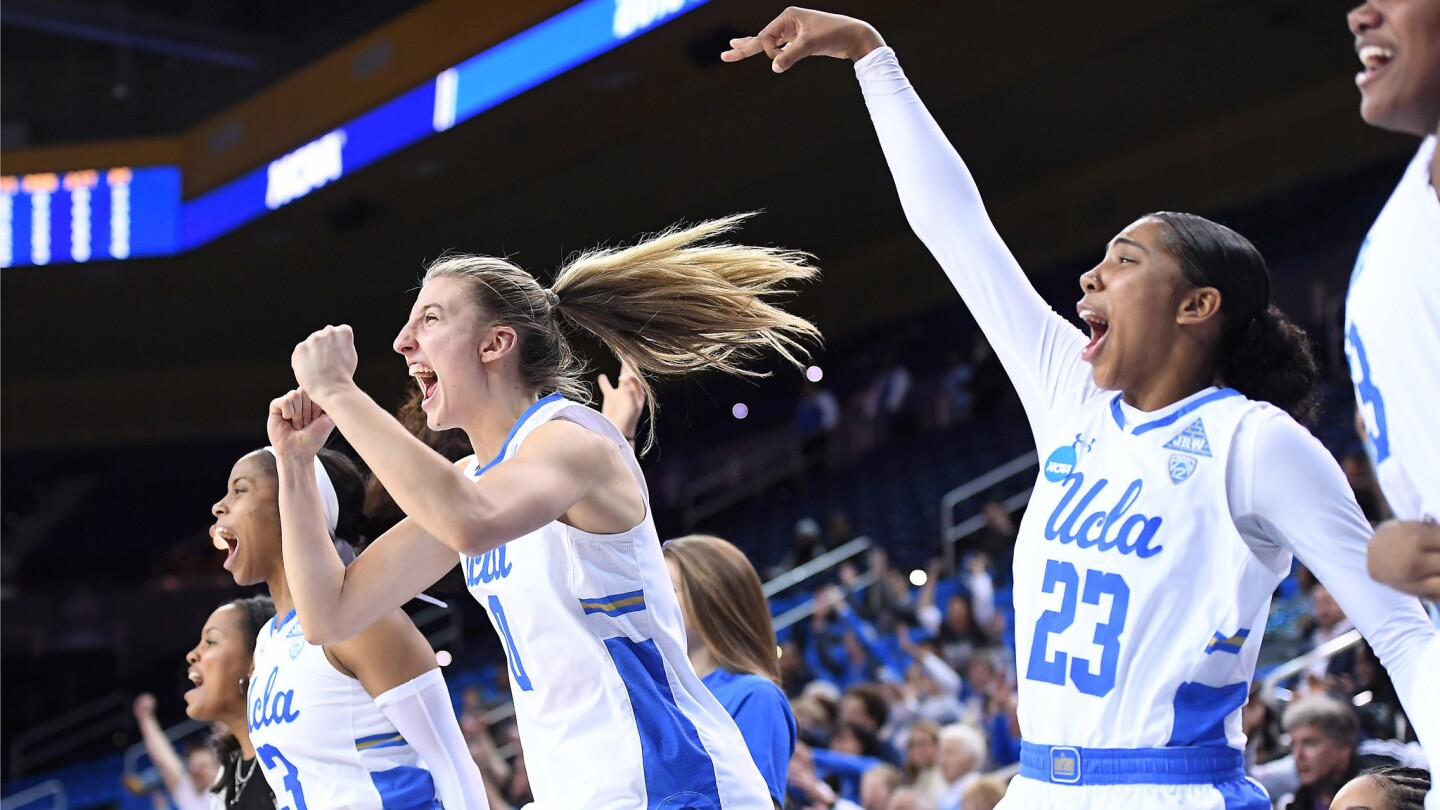UCLA players cheer teammates late in the fourth quarter against Creighton.