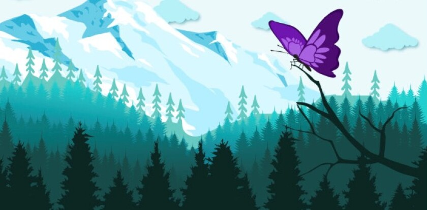 A purple butterfly named Penny balances on a branch in a children's book co-written by San Diego County mayors.