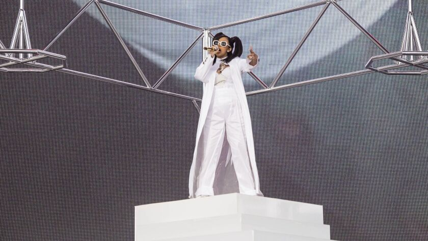 Rapper Cardi B performs at the Coachella Music and Arts Festival in Indio, Calif., on Sunday.