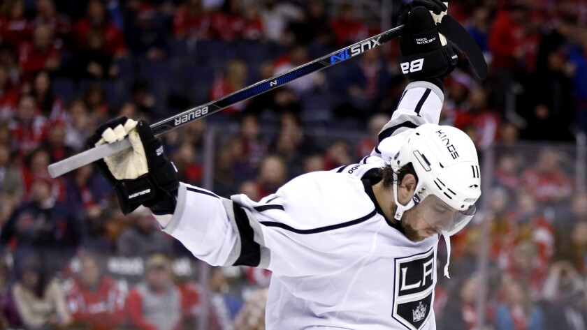Kings center Anze Kopitar stretches during the third period of a 3-1 loss to the Capitals on Tuesday.
