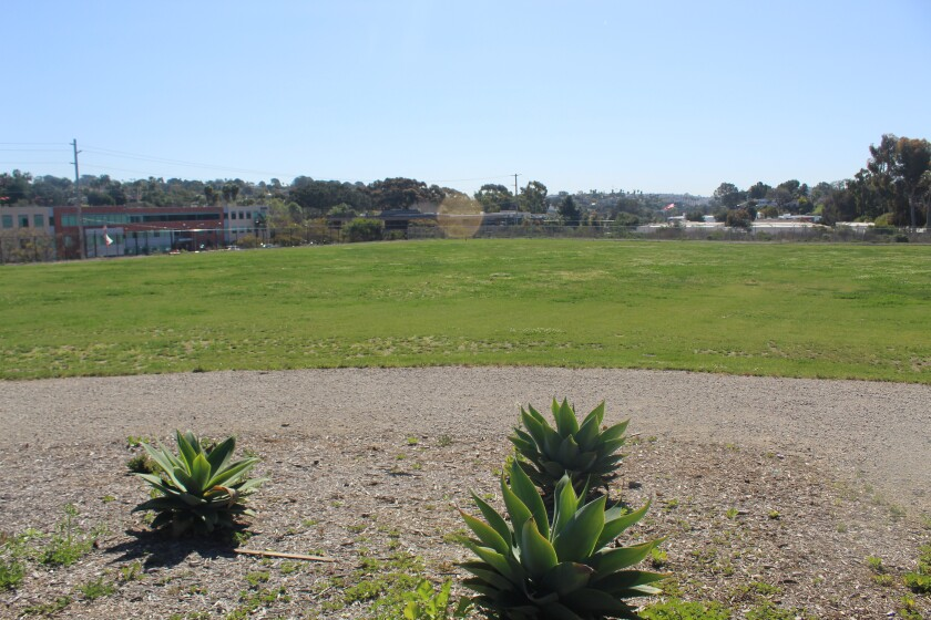 The current field space at Earl Warren campus that the district is considering for a new district office.