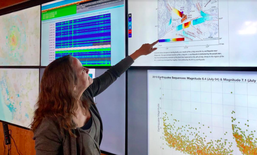 Debi Kilb, a seismologist at UC San Diego's Scripps Institution of Oceanography, briefs the media on July 6th about what she's learned about the back-to-back earthquakes near Ridgecrest.