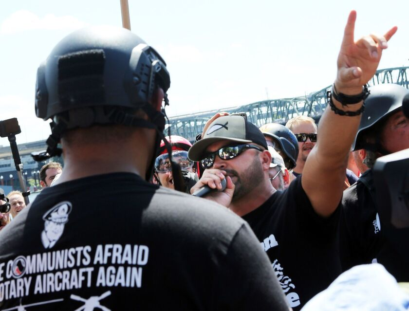 Joey Gibson, Patriot Prayer founder and Republican Senate candidate, addresses alt-right activists at the August 4 rally in Portland.
