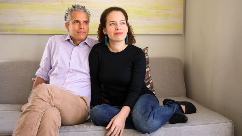 Filmmakers Jennifer Brea and husband Omar Wasow sit for a portrait after an interview about their fi