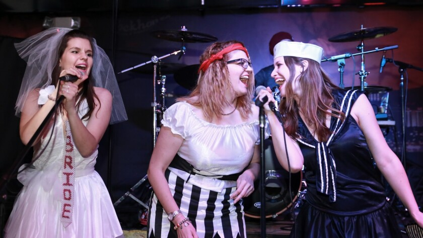 A bachelorette party celebrates by taking the stage at Rockhouse Las Vegas.
