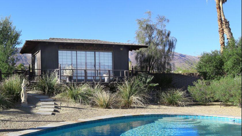 A serene teahouse overlooking a pool is part of a 6-acre garden on the March 17 Borrego Desert Garden Tour.