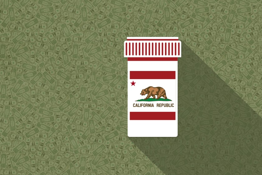 An illustration of a generic pill bottle with an image of the California state flag